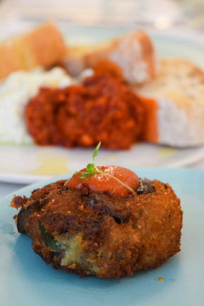 Aubergine Fritters at Lina Stores, Soho