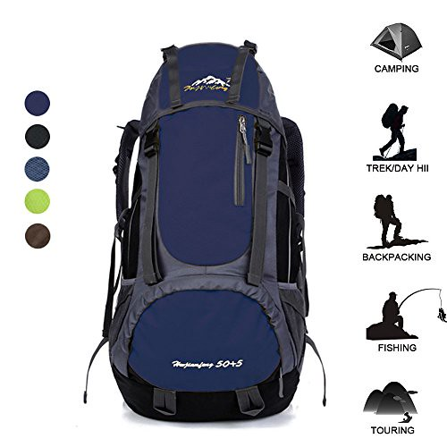 55L Waterproof Backpack Daypack Shoulder Bag for Sport Climbing Mountaineering Fishing Travel Hiking Cycling (55L Blue Backpack) For Sale