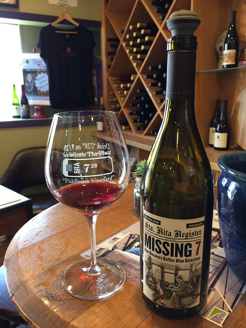 Missing 7 wine at Fiddlehead Cellars, Wine Ghetto, Lompoc, CA