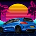 Retro sunset themed blue Scirocco R facelift. Vector design done for the owner.