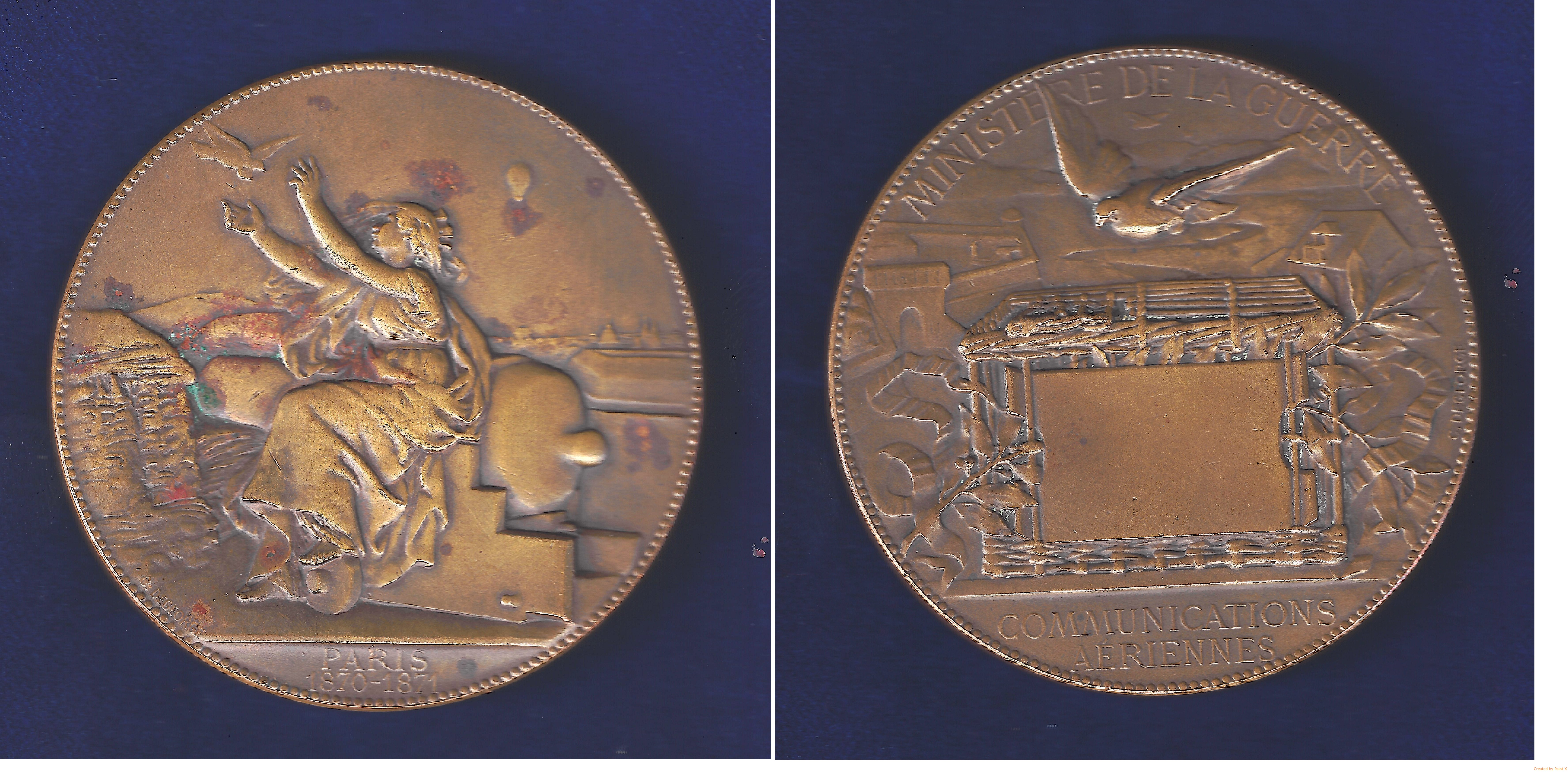 Bronze medallion marking the Paris Seige Pigeon Post created by artist Charles Degeorge for the French Military Communications in December 1871. A pigeon is released by the city goddess Lutetia sitting l. on a cannon. In the background up at r. a hot air balloon carrying homing pigeons. 2 lines in exergue: