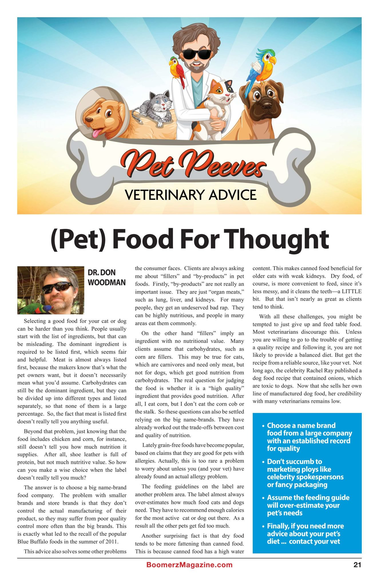 Boomerz Magazine 2018 November Pet Peeves Pet Food For Thought