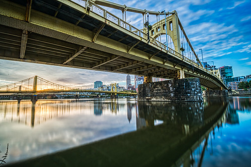 alleghenyriver andywarholbridge hdr nikon nikond5300 outdoor pennsylvania pittsburgh robertoclementebridge architecture bridge bridges city clouds downtown geotagged longexposure morning reflection reflections river sky skyscraper skyscrapers sunrise urban water unitedstates