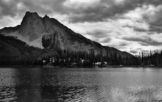 Mount Burgess as a Magnificent Backdrop for Emerald Lake (Black & White, Yoho National Park)