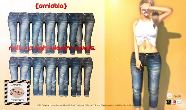 "{amiable}""SATADAY SALE"" Roll-up Tight Denim Pants@the main store."