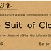 Ticket for a Chance on a $25 Suit of Clothes by Alan Mays