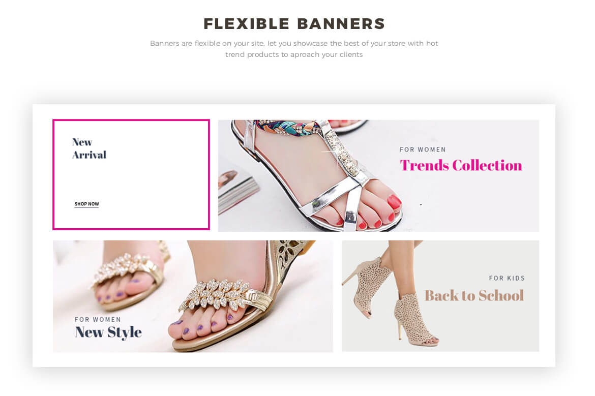 flexible banners - high-heel shoes and fashion online store