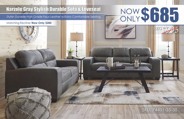Narzole Gray Sofa & Loveseat_74401-38-35-T351