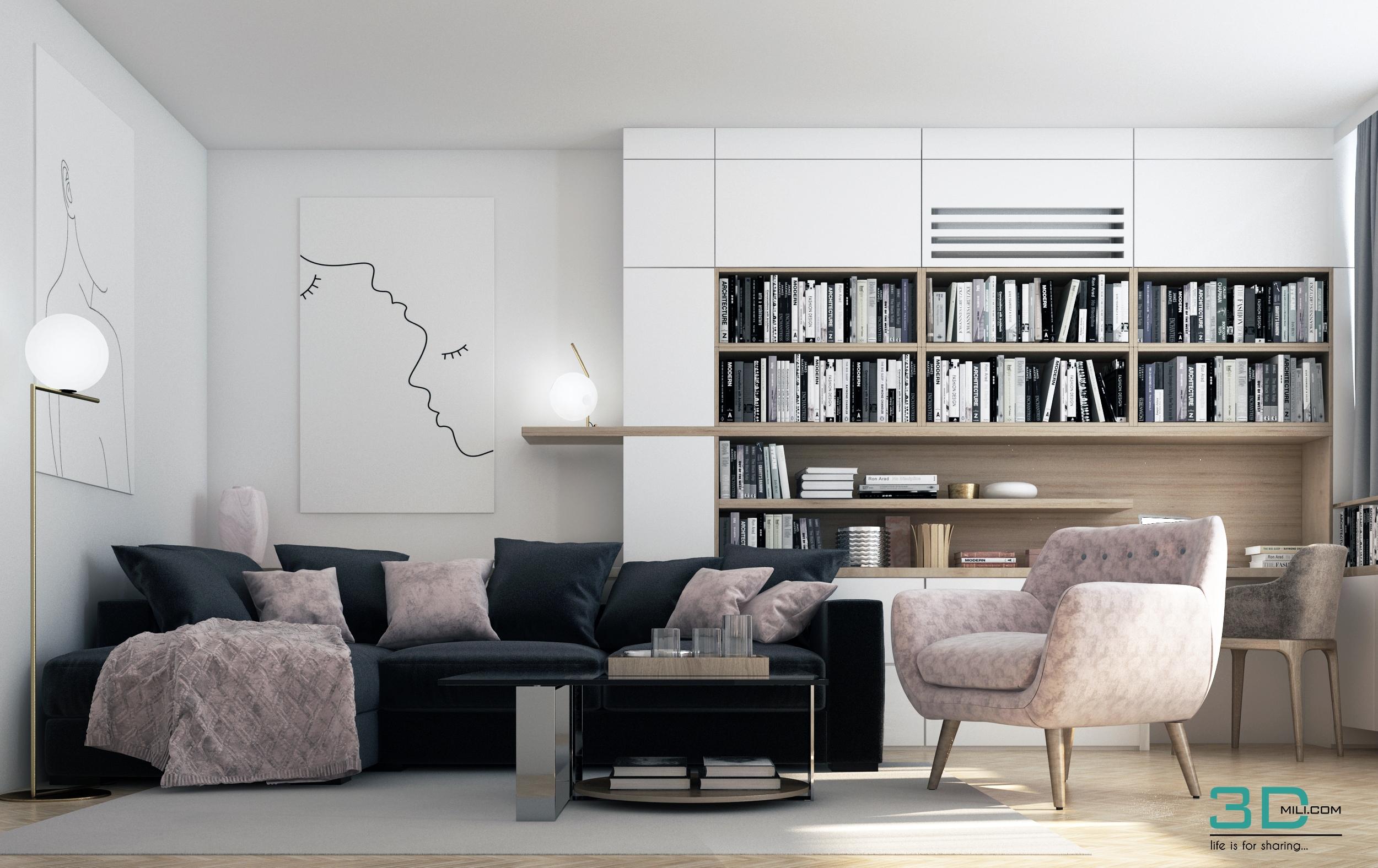 lovely living room 3d model | Living room - 3D Mili - Download 3D Model - Free 3D Models ...