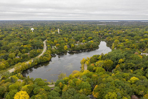 dji mavic 2 pro mavi drone aerial wing lake minnetonka minnesota mn trees fall autumn landscape cloudy clouds water reflection quadcopter hasselblad