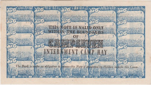 Hay Internment Camp Note back