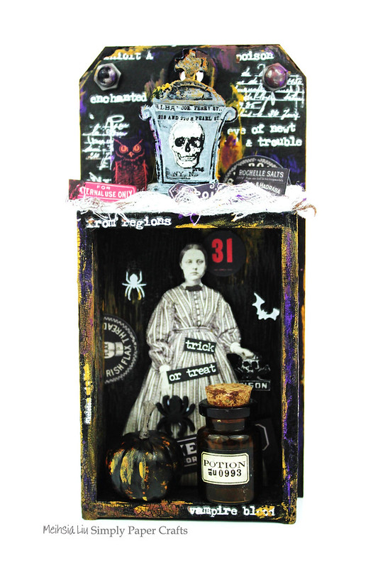 Meihsia Liu Simply Paper Crafts Mixed Media Spooky Halloween Simon Says Stamp Tim Holtz