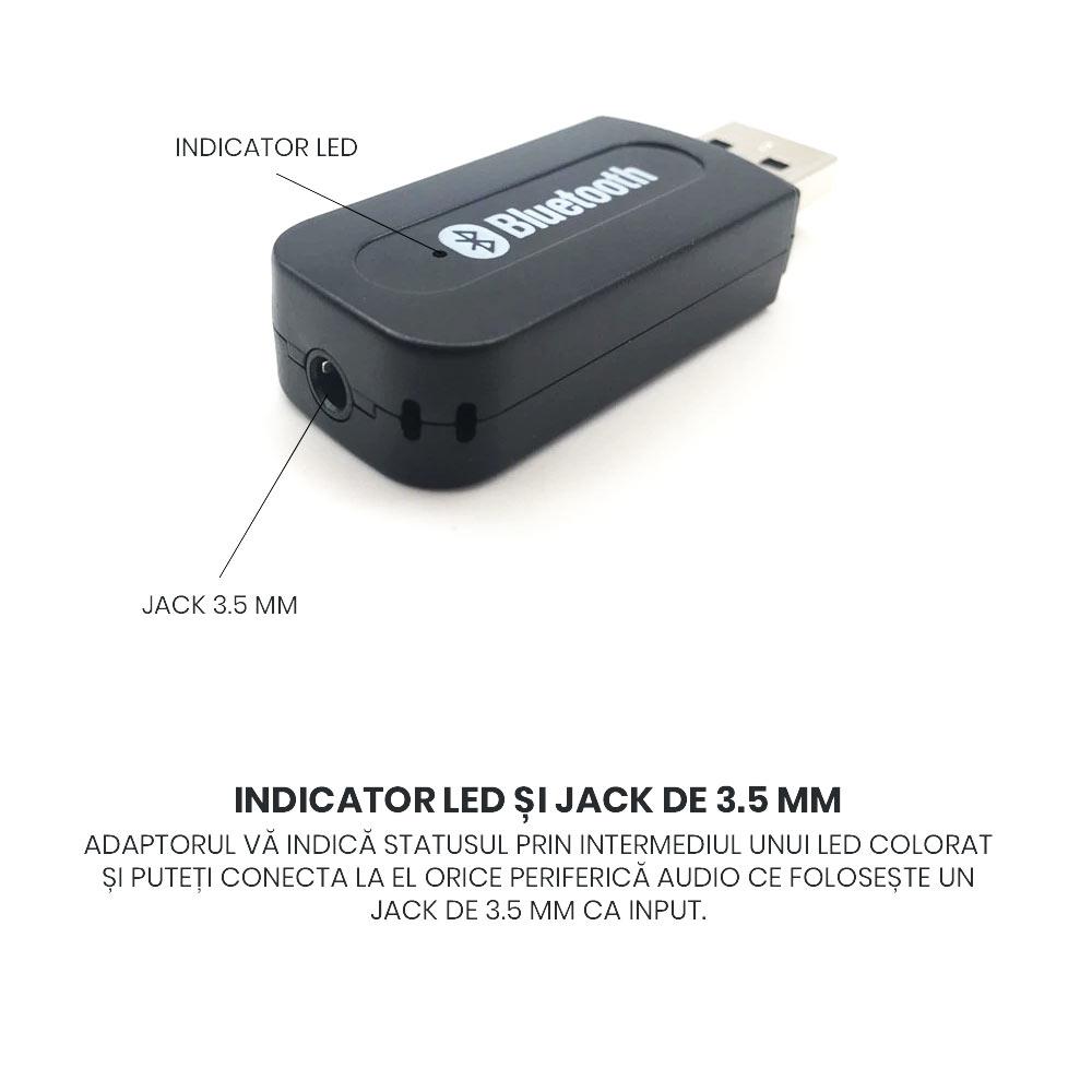 Receptor Bluetooth 3.0 audio negru cu mufa USB tata
