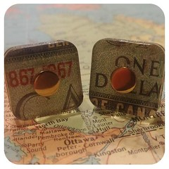 Banknote cufflinks one dollar