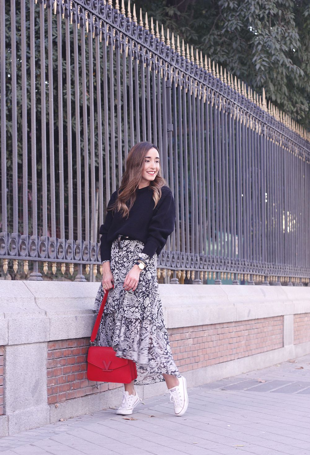 how to wear a midi dress with a sweater converse valentinobags street style casual outfit 20183109
