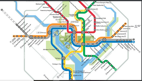 Extract from WMATA Metrorail map showing Yellow Line service in DC