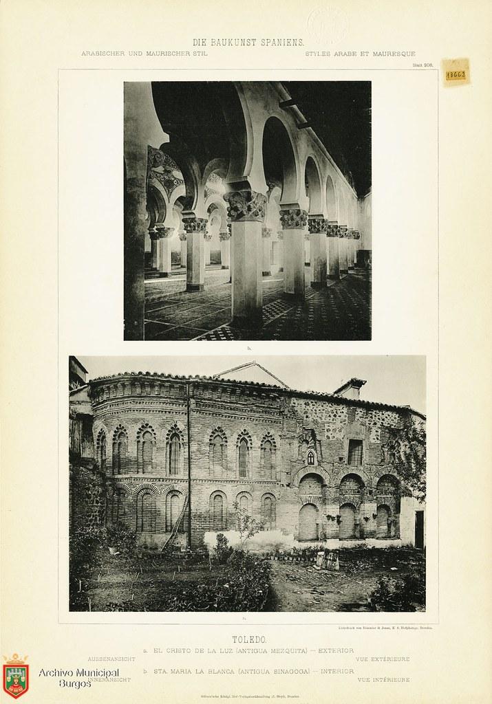 """Sinagoga de Santa María la Blanca y Mezquita del Cristo de la Luz hacia 1887. De la obra """"Die Baukunst Spaniens in ihren hervorragendsten werken"""", de Max Junghaendel. Archivo Municipal, Ayuntamiento de Burgos."""