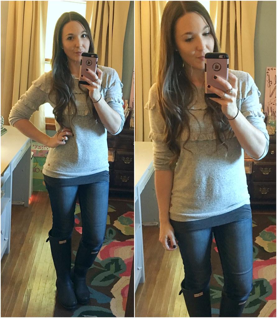 matilda jane grey ruffle tween sweater on an adult