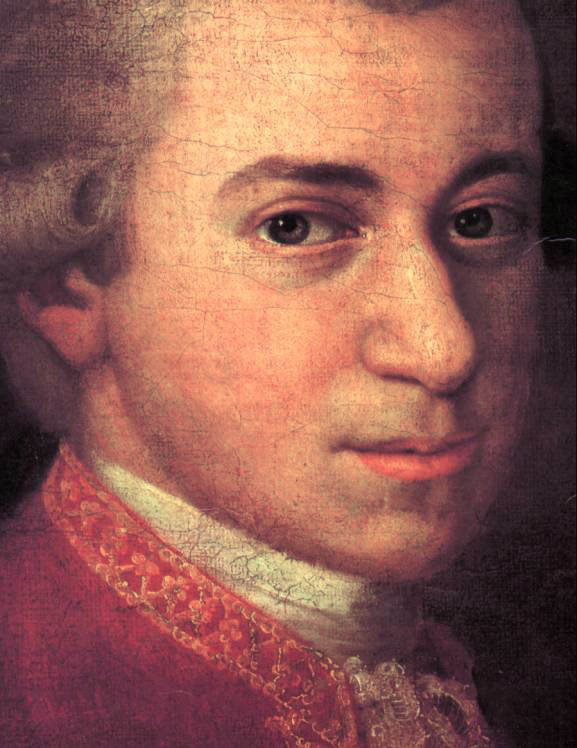 Detail of the face of Wolfgang Amadeus Mozart. Cropped version of the painting where Mozart is seen with Anna Maria (Mozart's sister) and father, Leopold, on the wall a portrait of his deceased mother, Anna Maria. Painting by Johann Nepomuk della Croce, 1780-1781.