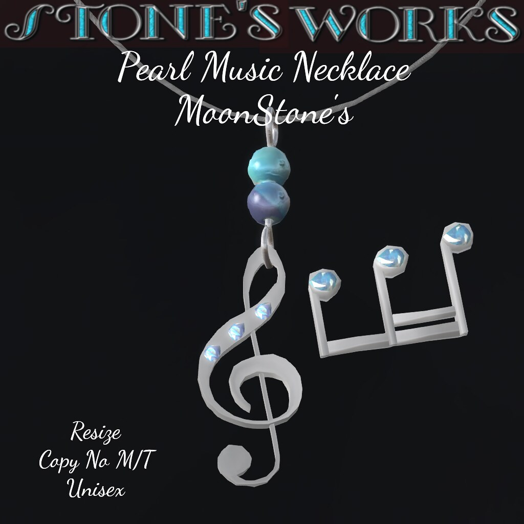 Pearl Music Necklace MoonStone Stone's Works