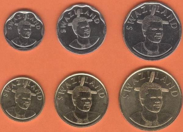 Swazijsko 10-20-50 Cents + 1-2-5 Emalangeni 2015
