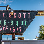 Thu, 2018-10-18 12:08 - The sign above Scott Bar-B-Que restaurant in Lexington, Tennessee