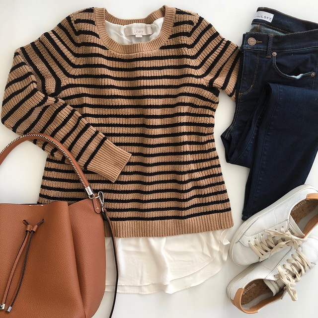 LOFT Striped Split Back Mixed Media Sweater, size XXS regular