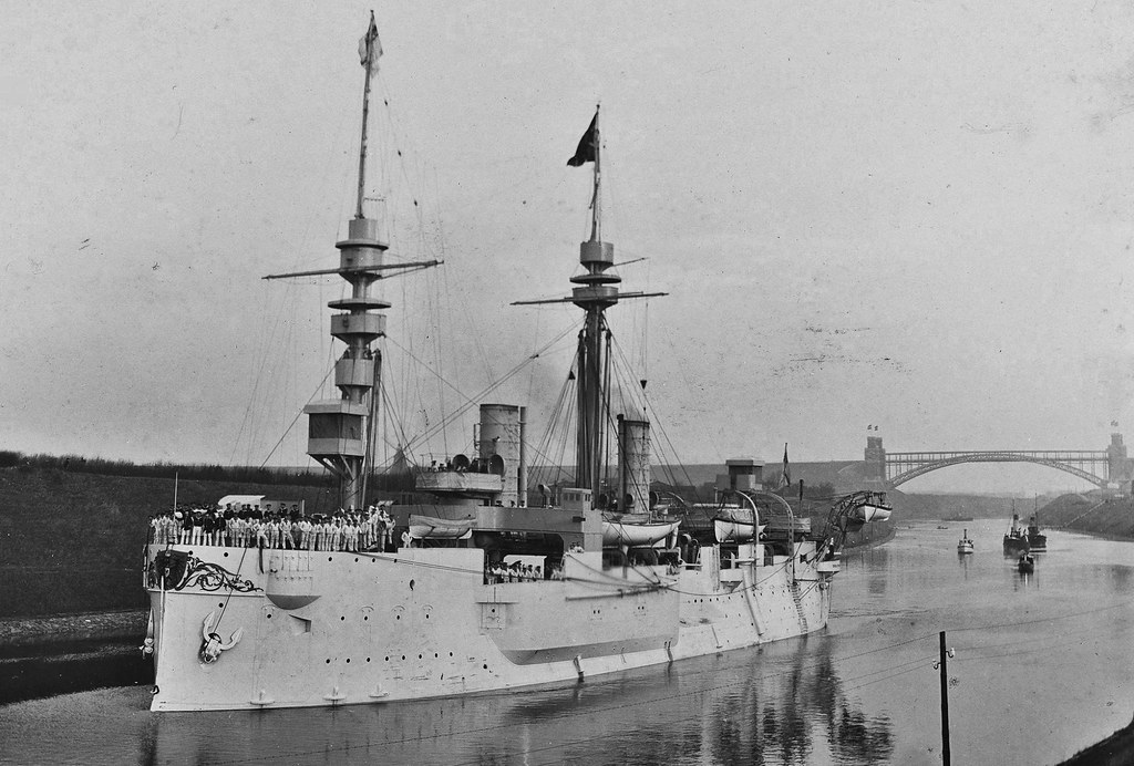 Imperial german Kaiser-class ironclad SMS DEUTSCHLAND passing Ciel-canal probably leaving for China-station in 1898
