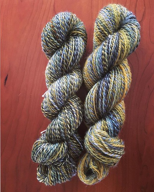 New handspun yarn. Club leftover grab bag by @helloyarn. Romney wool in 'Tideline', 8oz. #stashdown #spinning #handspun #handspunyarn