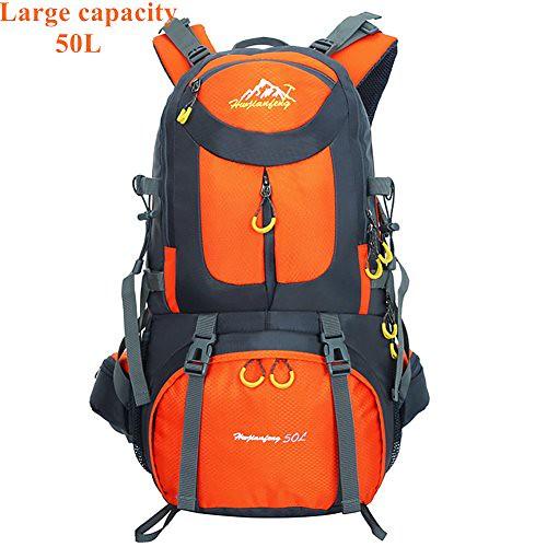 SHINENGkeji Backpack,50L Outdoor Recreation Backpack,Large Capacity Durable Travel Lightweight Water Resistant Hiking Daypack Rucksack (orange) For Sale