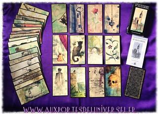 Aux Portes de l'Universel présente le jeu et le livre Les cartes divinatoires d'Algariel et tirage vies antérieures