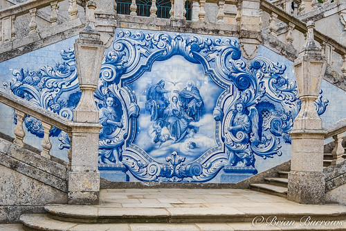 Portugese painted ceramic tiles adorn the staircases
