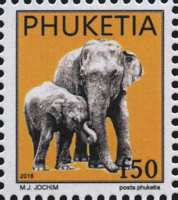 Upcoming stamps from Republica Phuketia featuring tuk-tuks and elephants (to be released in November 2018).