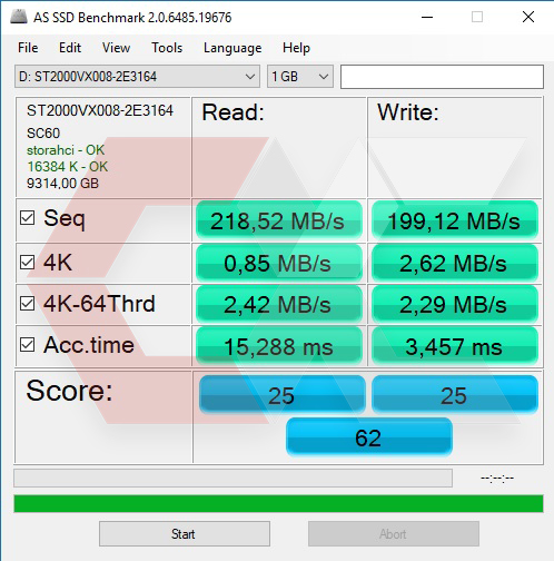 AS SSD HDD Seagate 10 TB OverCluster
