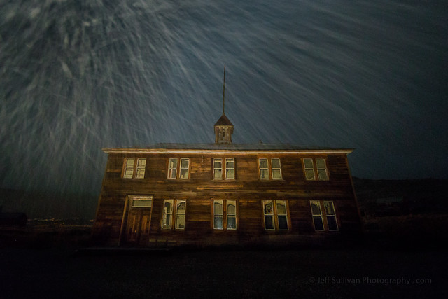 Snow Flurries in Bodie at Night
