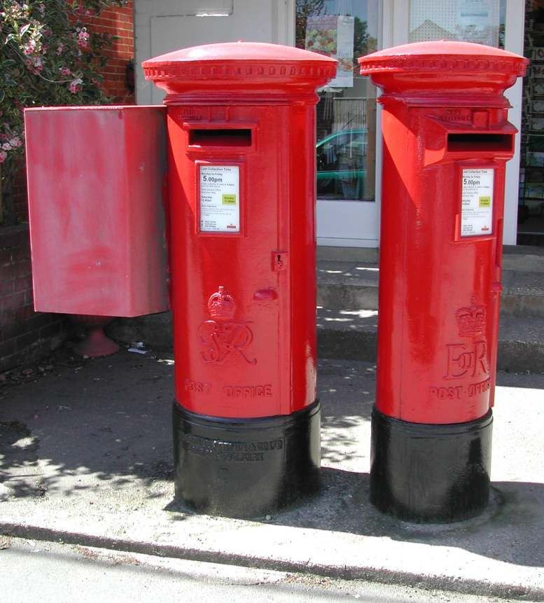 A George VI and an Elizabeth II post box together at Bembridge Post Office, Isle of Wight. One was for local mail and the other for off-island post.