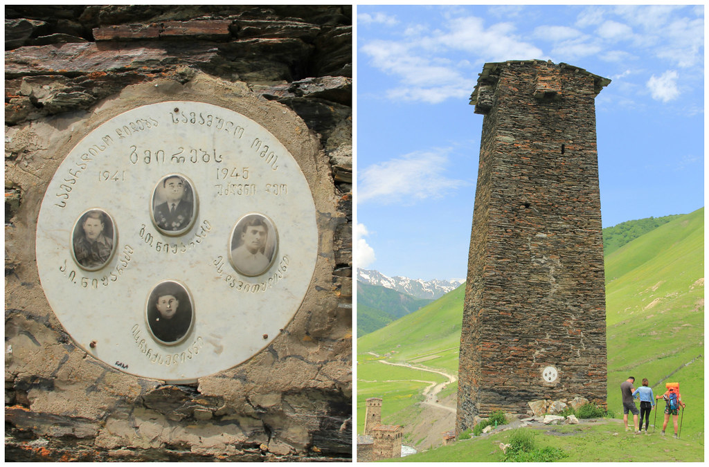 Svan Tower and hikers, Ushguli, Svaneti