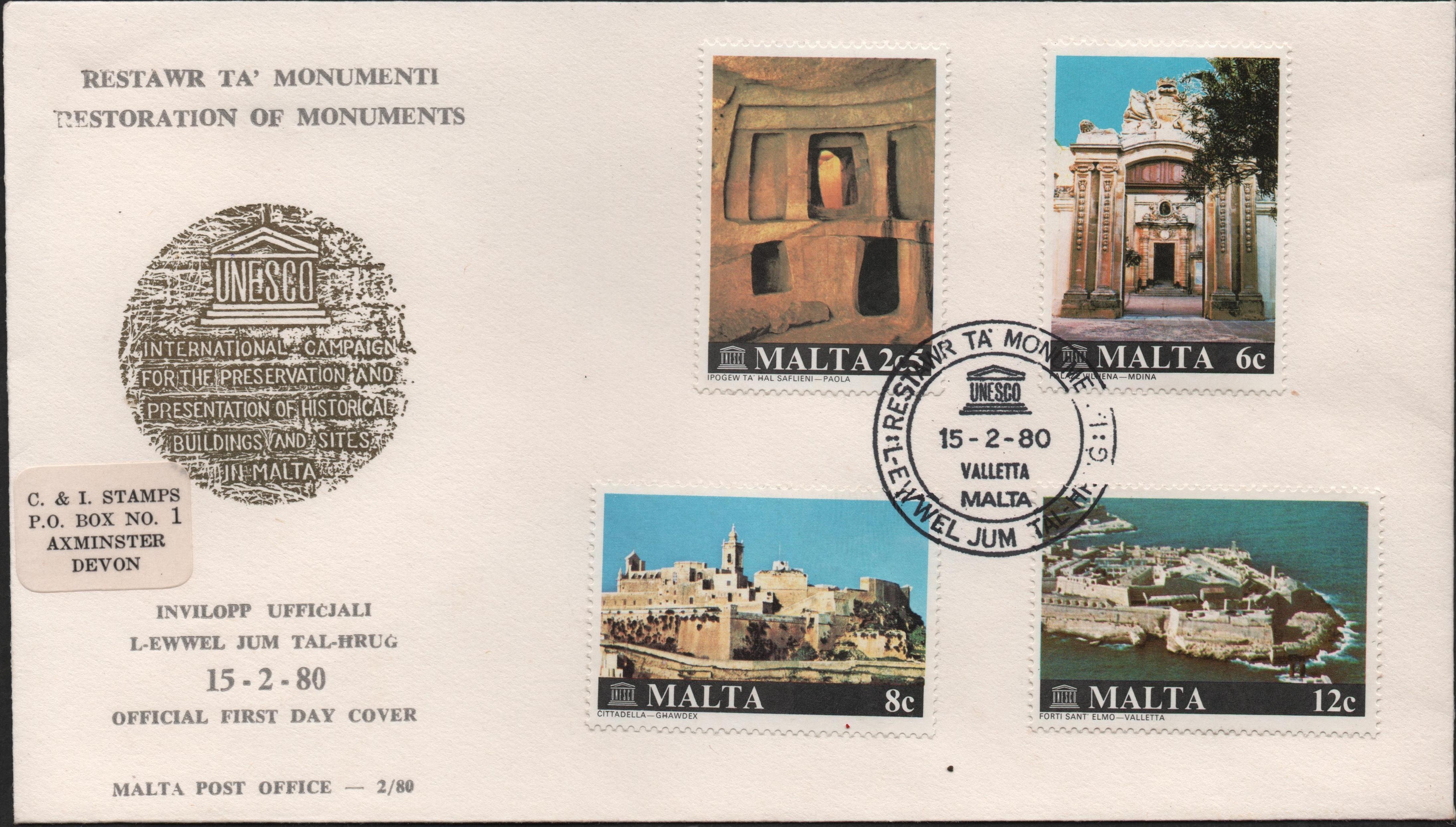 Malta - Scott #570-573 (1980) first day cover