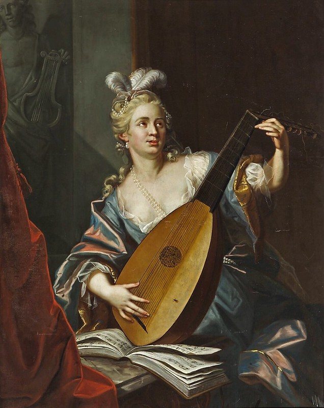 Emmanuel Jakob Handmann - A lady playing a lute (1752)