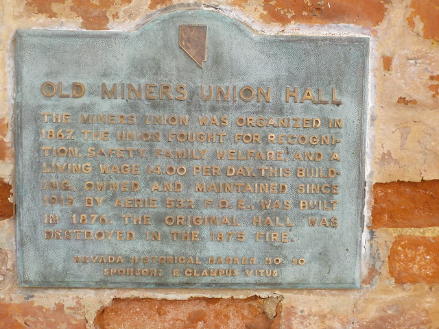 Sign for Old Miners Union Hall: Virginia City, Nevada