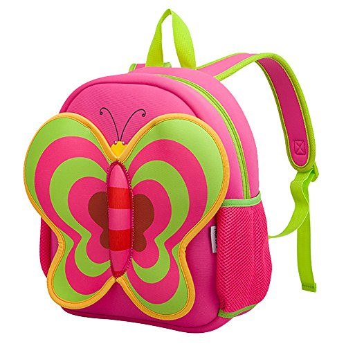 3D Butterfly Toddler Kids Backpack, LYCSIX66 Waterproof Neoprene Preschool Bag Travel Daypack for Baby Girl 2-6 Years, red Review