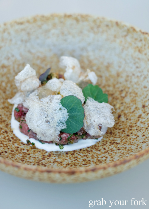 Seared tartare of Rangers Valley wagyu at Bennelong Restaurant in the Sydney Opera House
