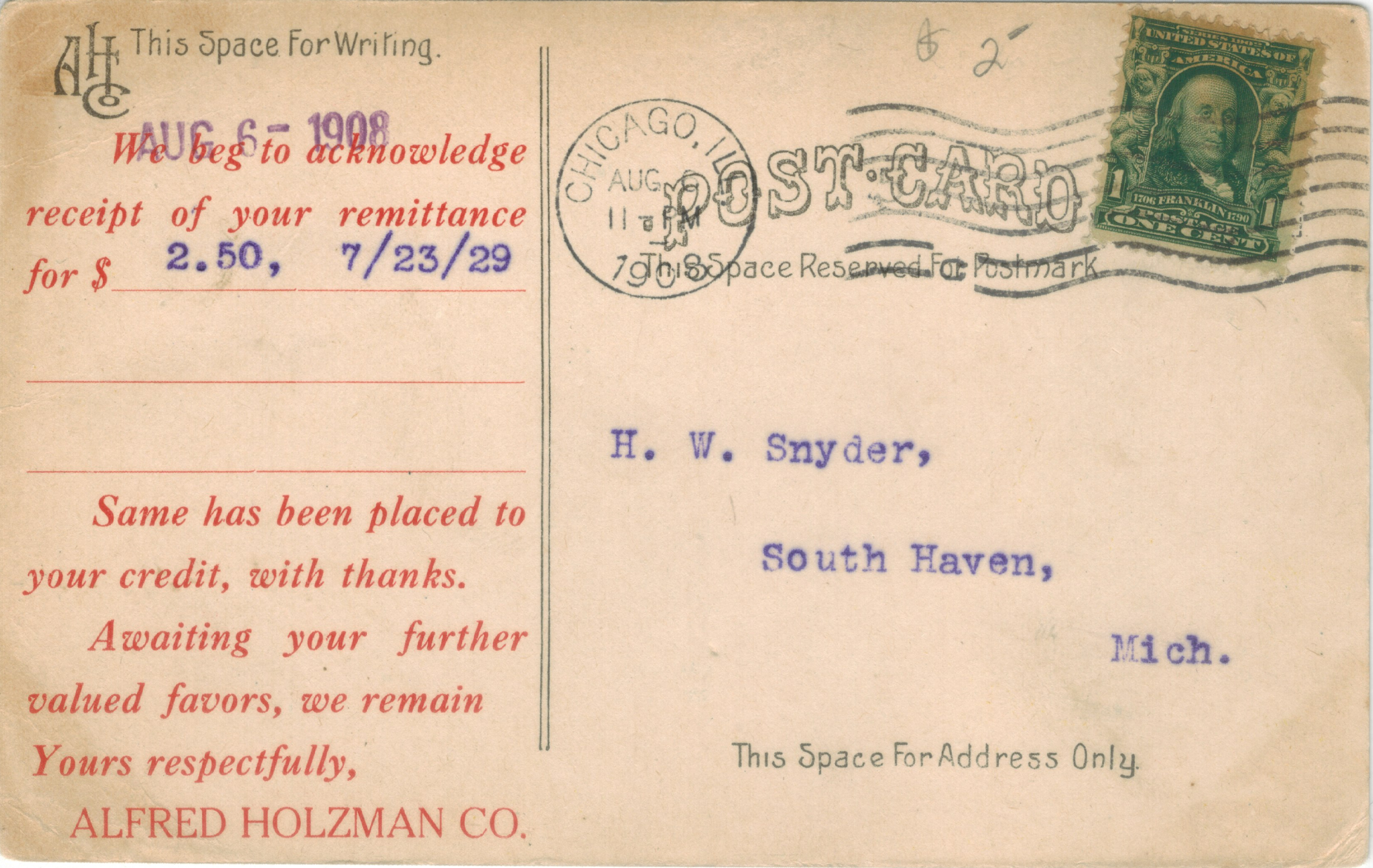 A postcard mailed on August 6, 1908, picturing the factory of Alfred Holzman Company, Chicago, which claimed to be
