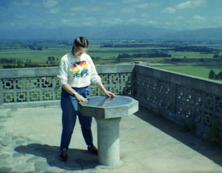 1986 Jane Webster at the Blenheim Rotary Lookout on the Wither Hills
