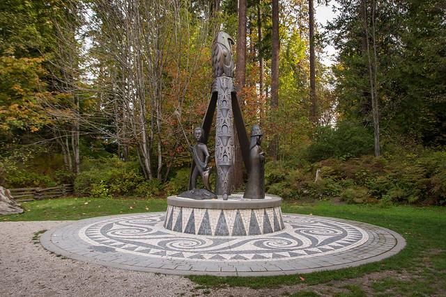 Portuguese Joe Statue near Totem Poles in Stanley Park