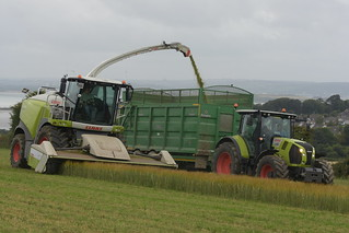 Claas Jaguar 970 SPFH filling a Broughan Engineering Mega HiSpeed Trailer drawn by a Claas Arion 650 Tractor