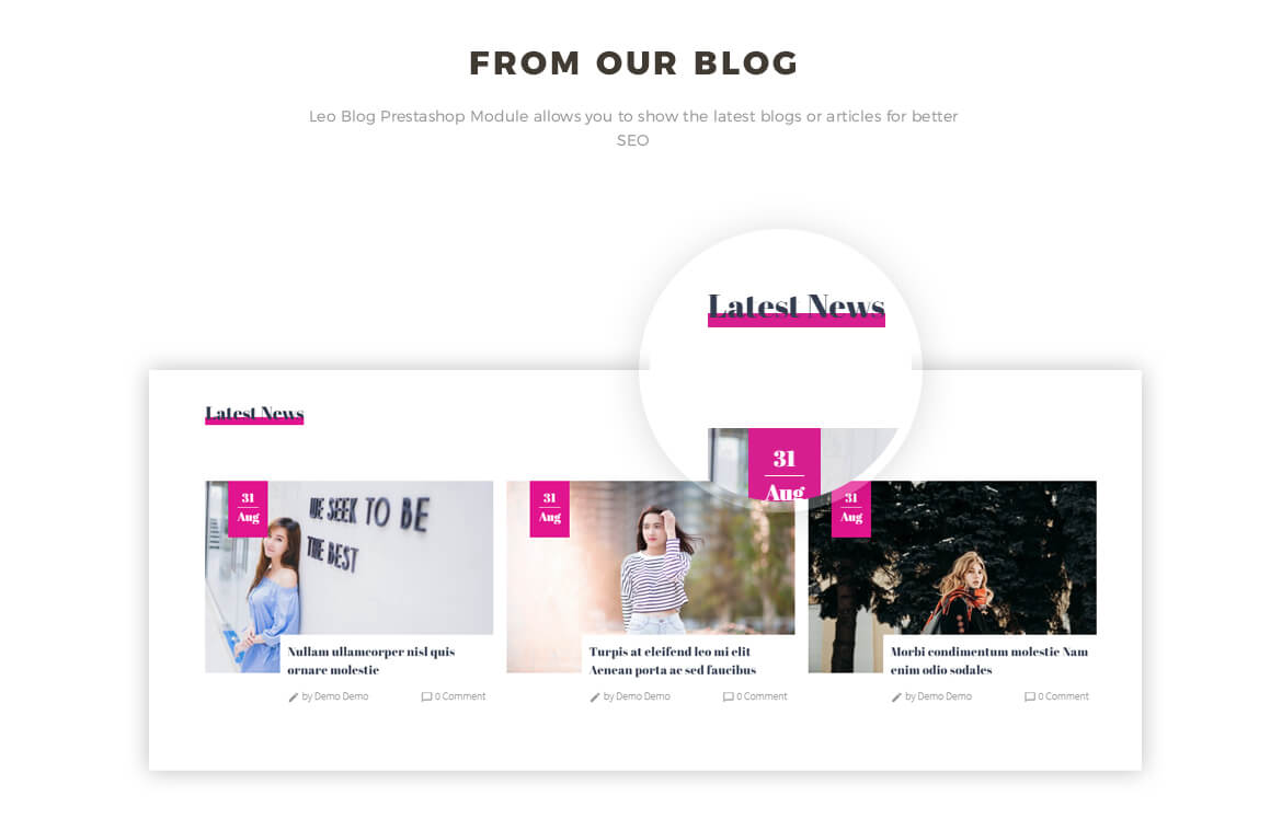 blog Prestashop module for shoes and fashion website