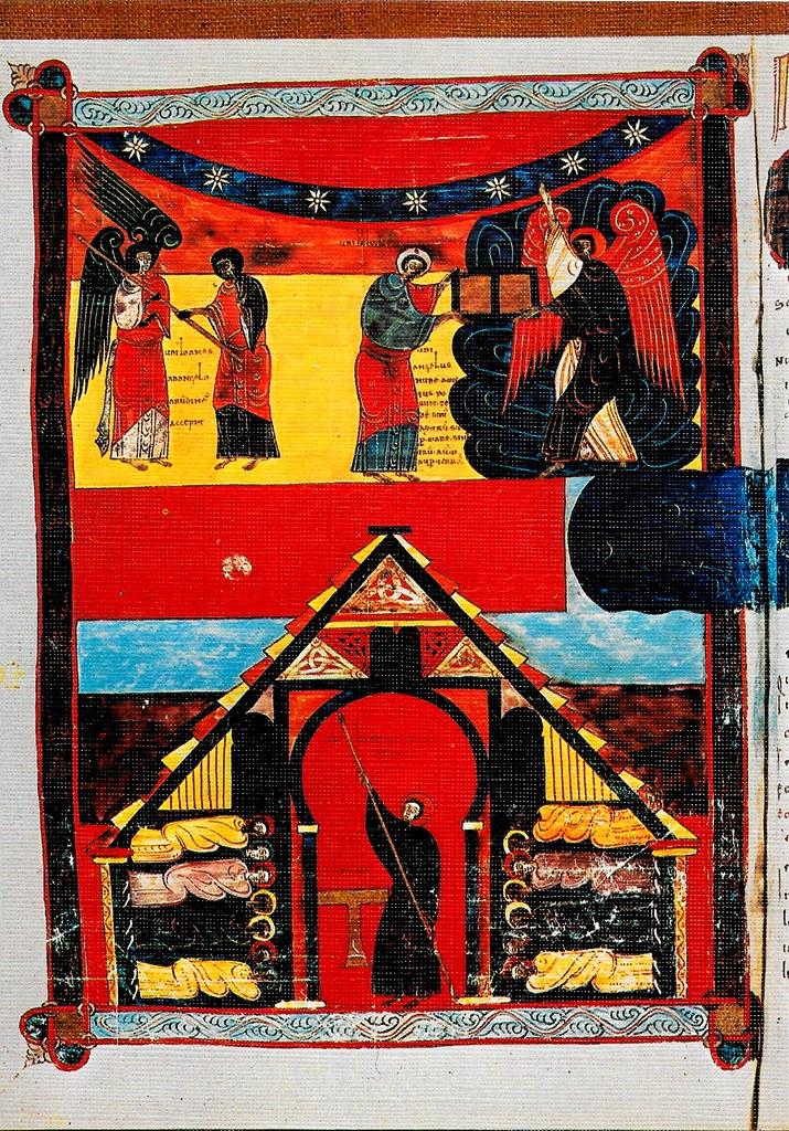 El ángel que está sobre la tierra y el mar entregando el libro a san Juan. El evangelista midiendo el templo. Ap. X y XI Santo Toribio de Liébana (Cantabria), San Beato de Liébana (siglo VIII),