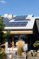 Solar Panels and Skylights on Roof of Hellbent Brewing Company Seattle WA