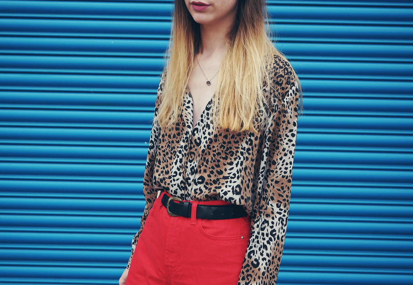 Vintage Leopard Shirt, Primark Crop Jeans and Platform shoes